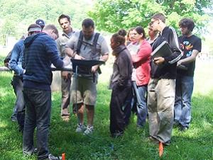 Students Examine Historical Cemetery