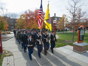 Buffalo State Observes Veterans Day with Cannon Shot, Silent March